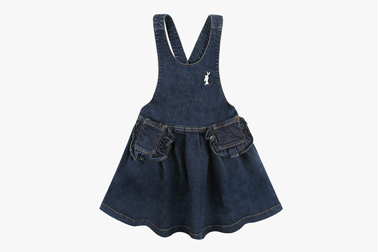 아이스비스킷 - Pinafore denim dress with ruffle pockets 30% sale