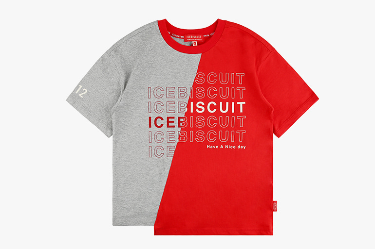 아이스비스킷 - Icebiscuit cut-off color block tee 20% sale