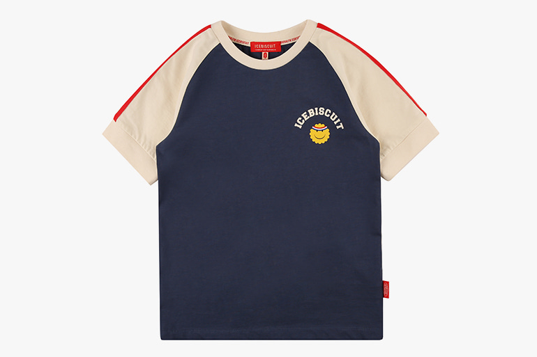 아이스비스킷 - Athletic smile color block raglan tee