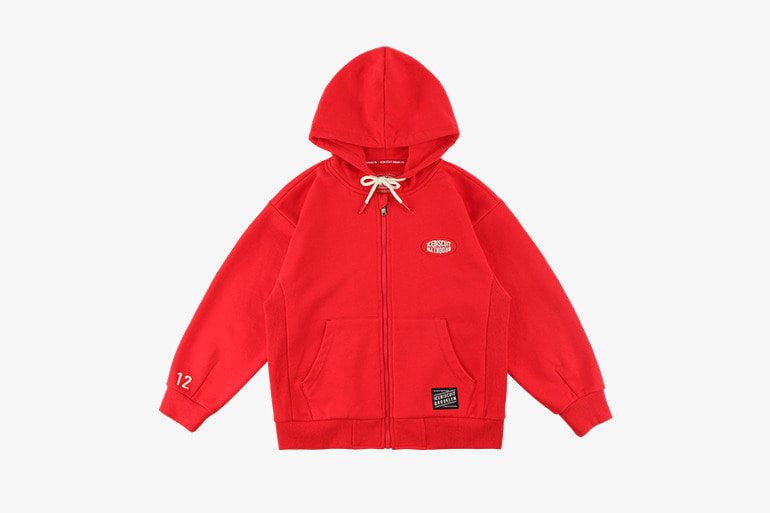 아이스비스킷 - Icebiscuit classic logo cotton zip-up hooded sweatshirt