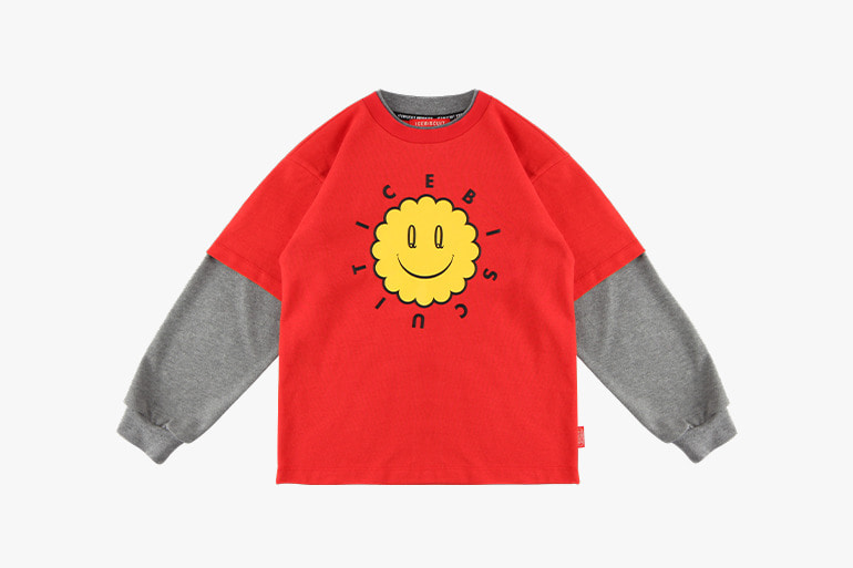 아이스비스킷 - Icebiscuit quiz smile layered tee 20% sale