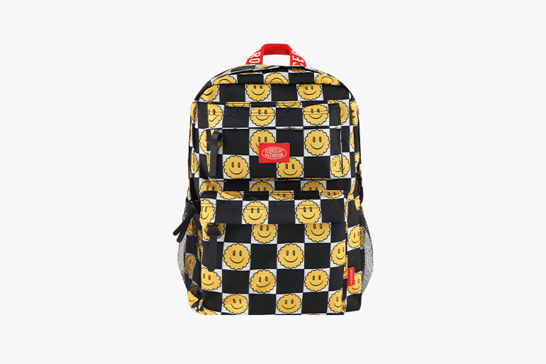아이스비스킷 - Smile checkerboard-print double pocket backpack