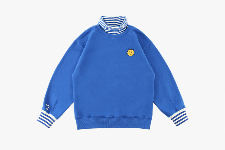 아이스비스킷 - Quiz smile stripe point turtleneck sweatshirt