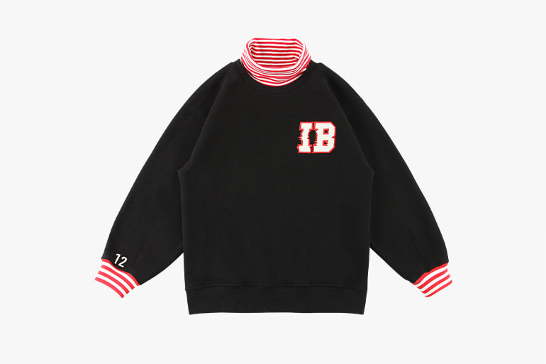 아이스비스킷 - IB stripe point turtleneck sweatshirt