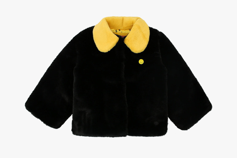 아이스비스킷 - Quiz smile collar point faux fur short jacket