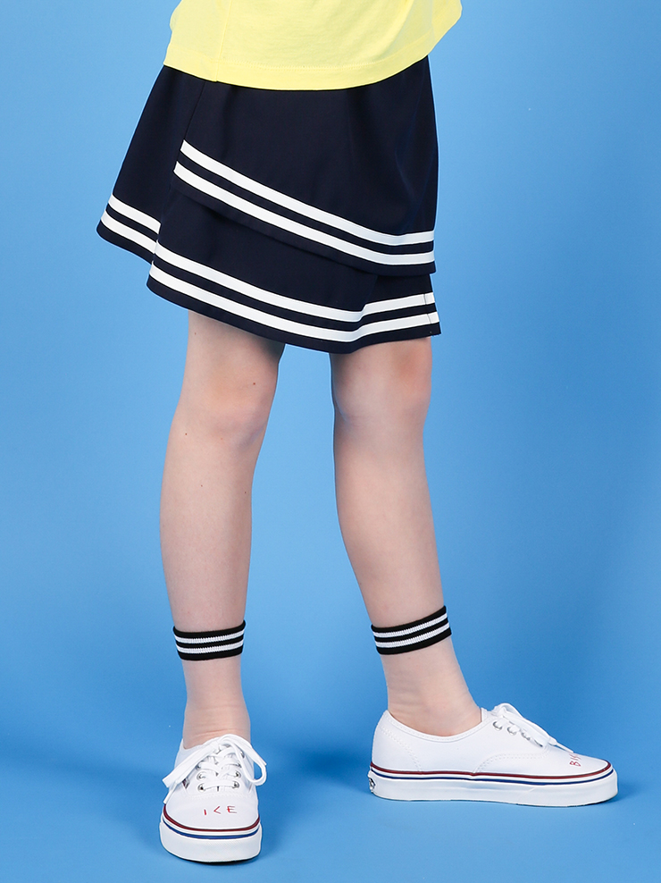 아이스비스킷 - Stripe-trimmed mini skirt 40% sale
