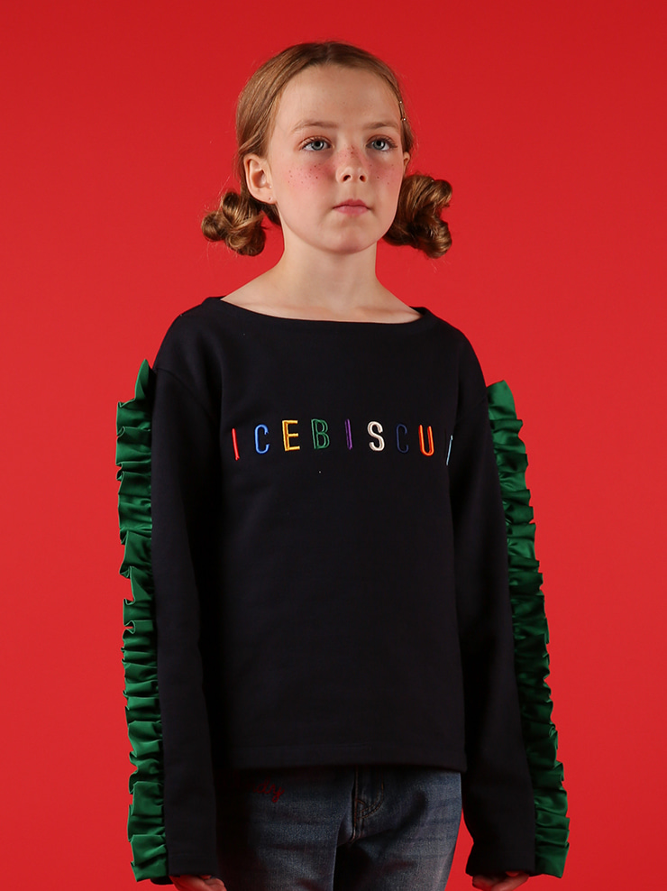 아이스비스킷 - Rainbow icebiscuit boat neck ruffle sweatshirt 30% sale