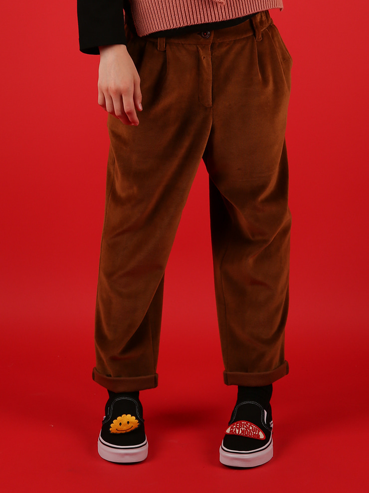 아이스비스킷 - Wendy velvet tapered rollup pants 40% sale