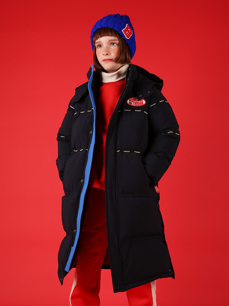 아이스비스킷 - Icebiscuit logo tape puffy long down coat 20% sale