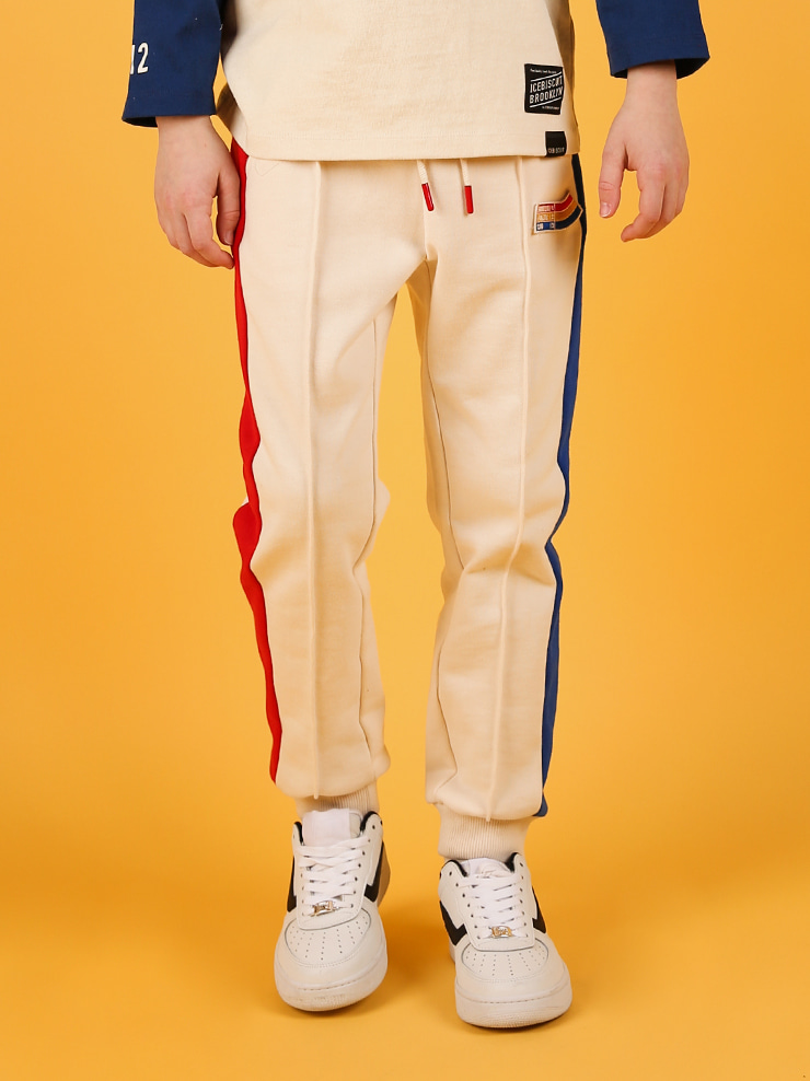 아이스비스킷 - Icebiscuit side color block sweat pants