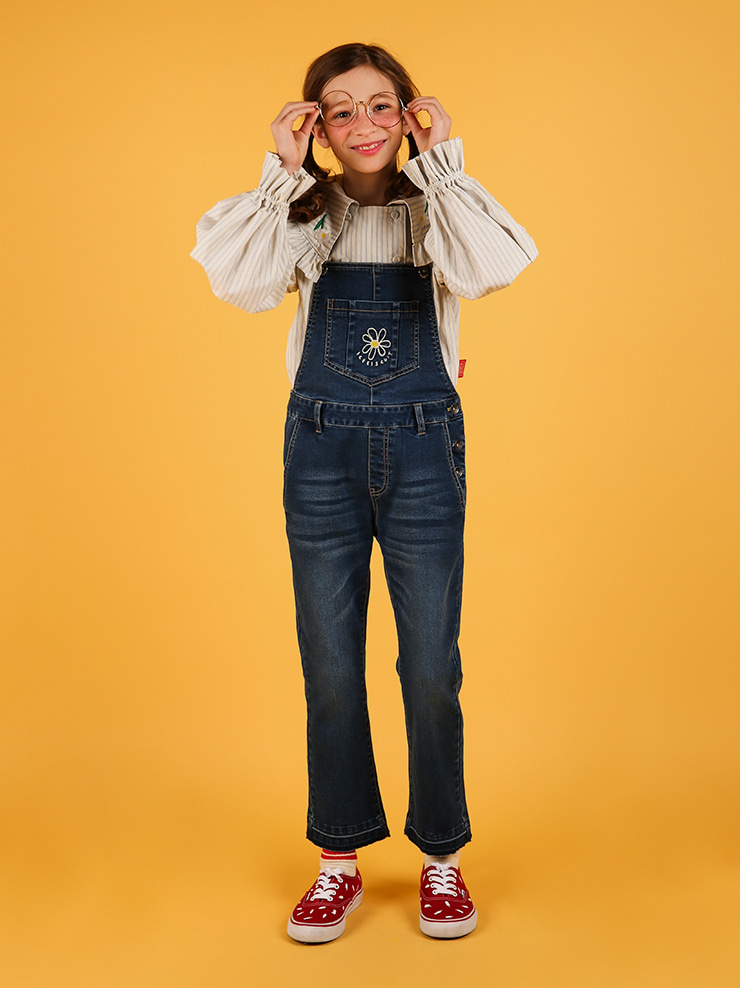 아이스비스킷 - Daisy boots-cut denim overall pants 20% sale