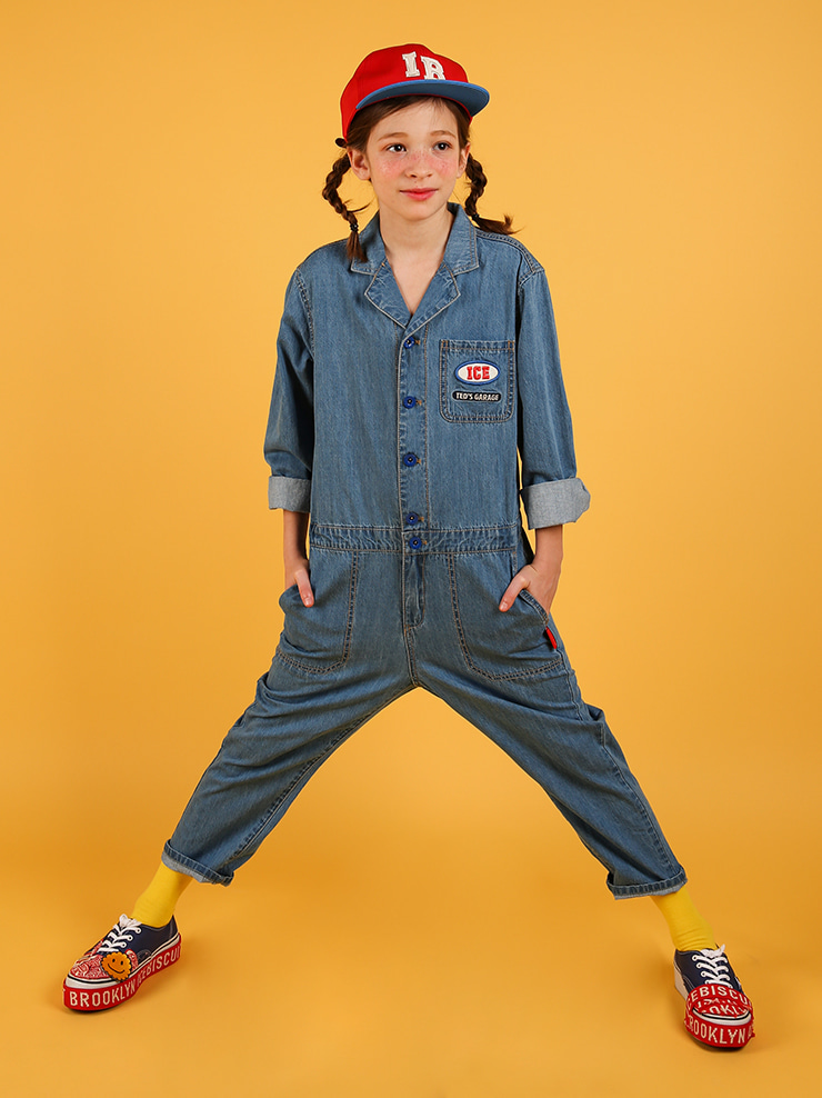 아이스비스킷 - Ted color block denim coverall
