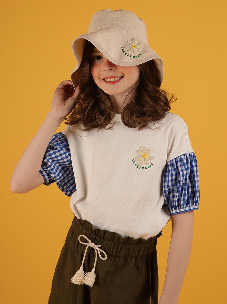 아이스비스킷 - Icebiscuit daisy check balloon sleeve tee