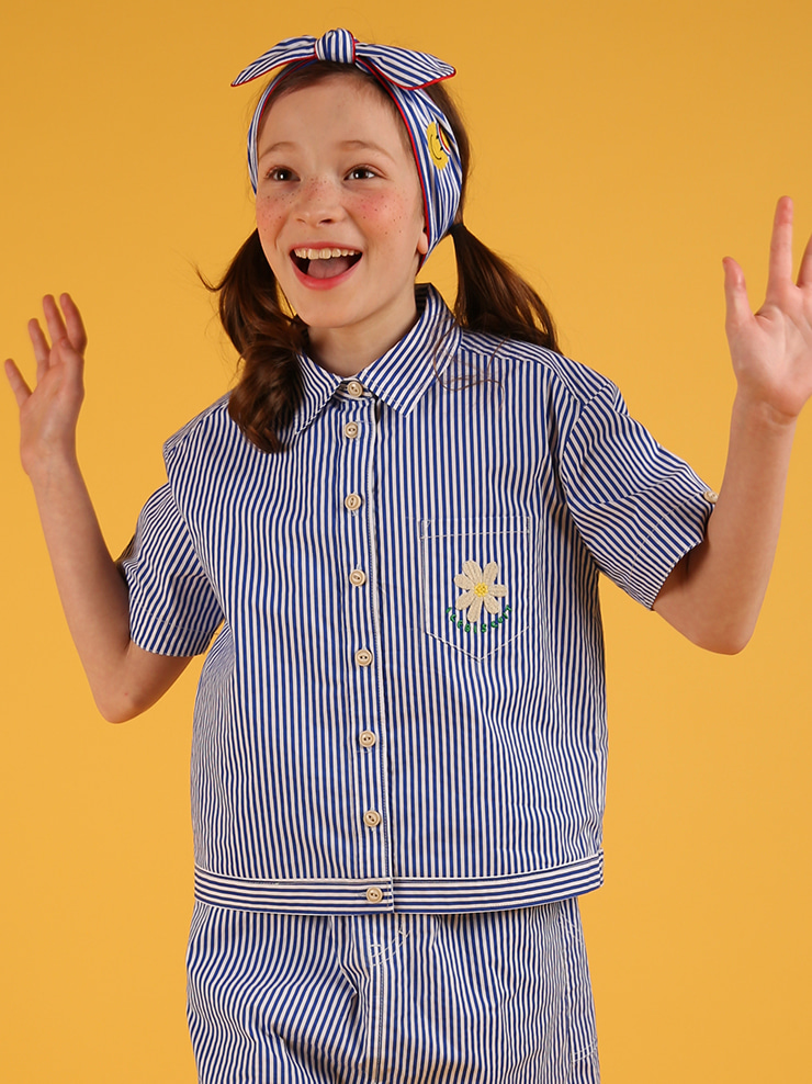 아이스비스킷 - Icebiscuit daisy blue stripe shirts