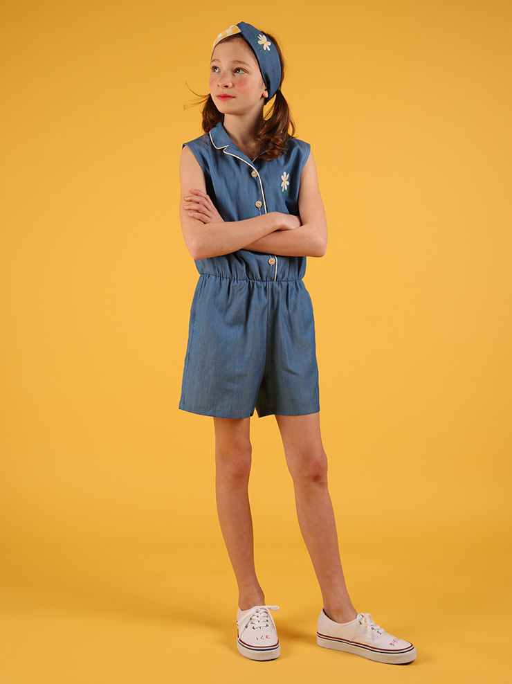 아이스비스킷 - Icebiscuit daisy sleeveless chambray jumpsuit