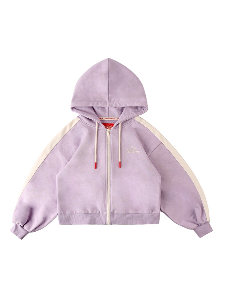 아이스비스킷 - Icebiscuit color block crop zip hoodie 20% sale