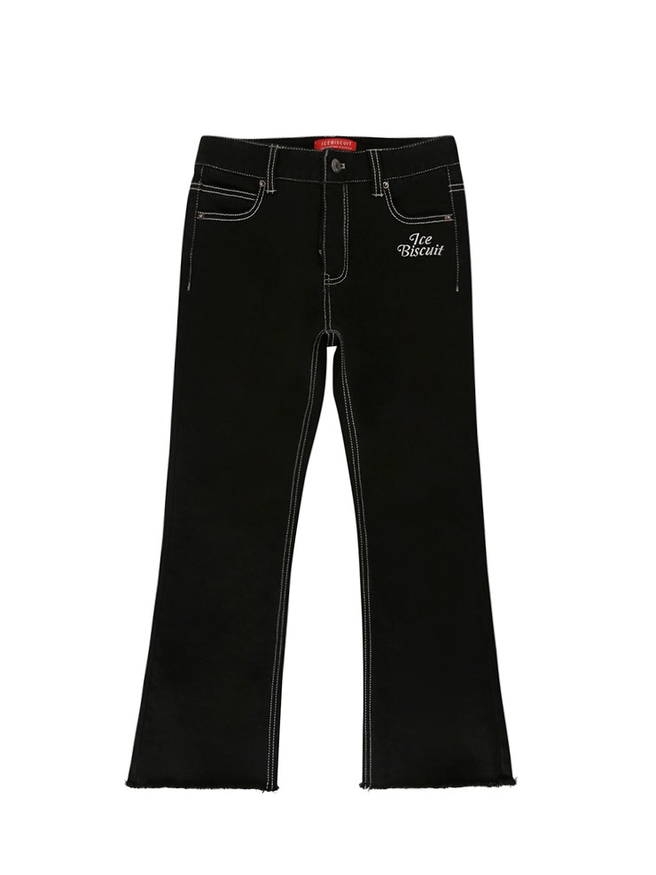 아이스비스킷 - Icebiscuit back brushed boots-cut black denim pants 20% Sale (기모O)