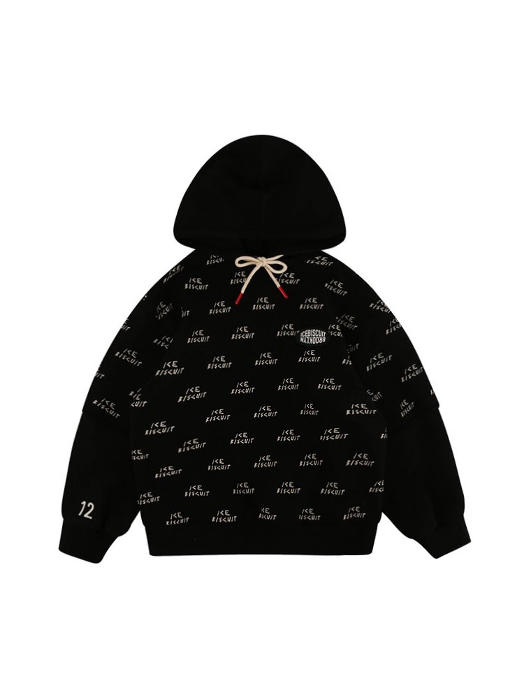 아이스비스킷 - Icebiscuit black double layer hoodie 20% Sale
