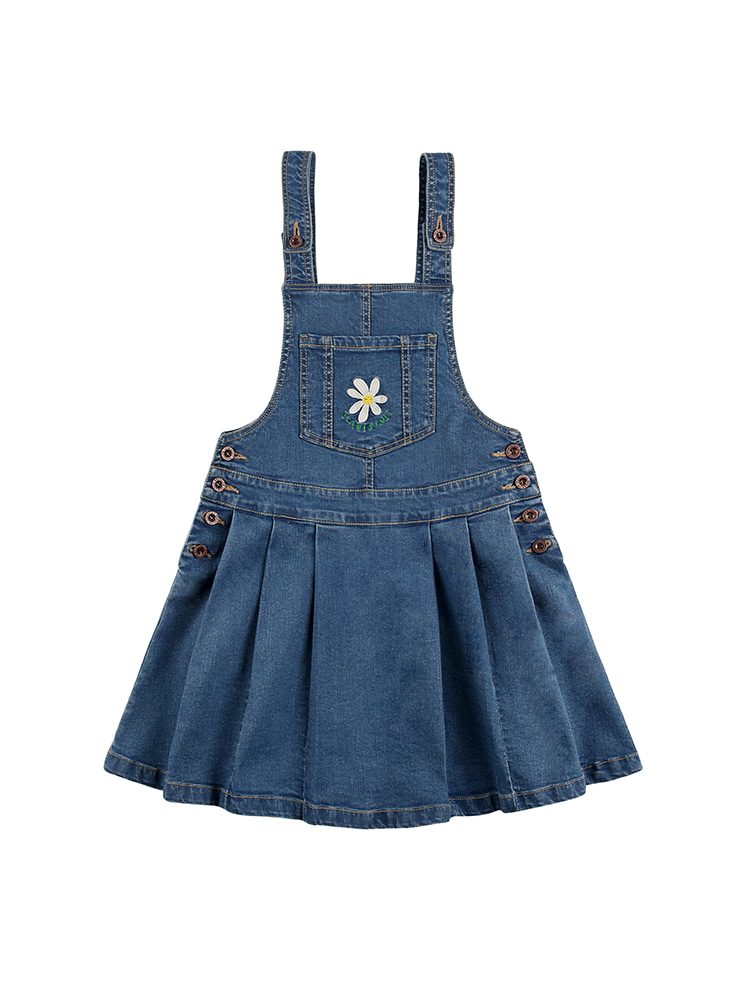 아이스비스킷 - Daisy overall pleated denim skirt 20% sale