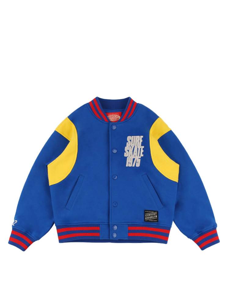 아이스비스킷 - Skate 1975 color block baseball jacket