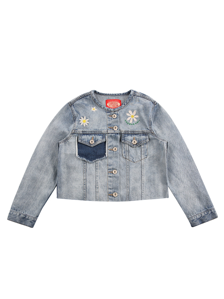아이스비스킷 - Daisy color block crop denim jacket 20% sale