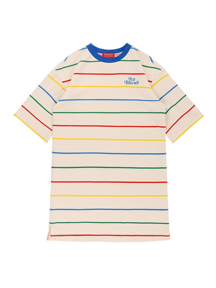 아이스비스킷 - Icebiscuit rainbow stripe tee dress