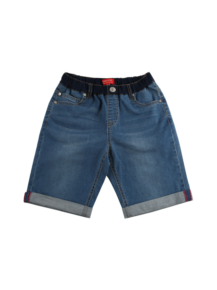 아이스비스킷 - Ted color block roll-up denim shorts