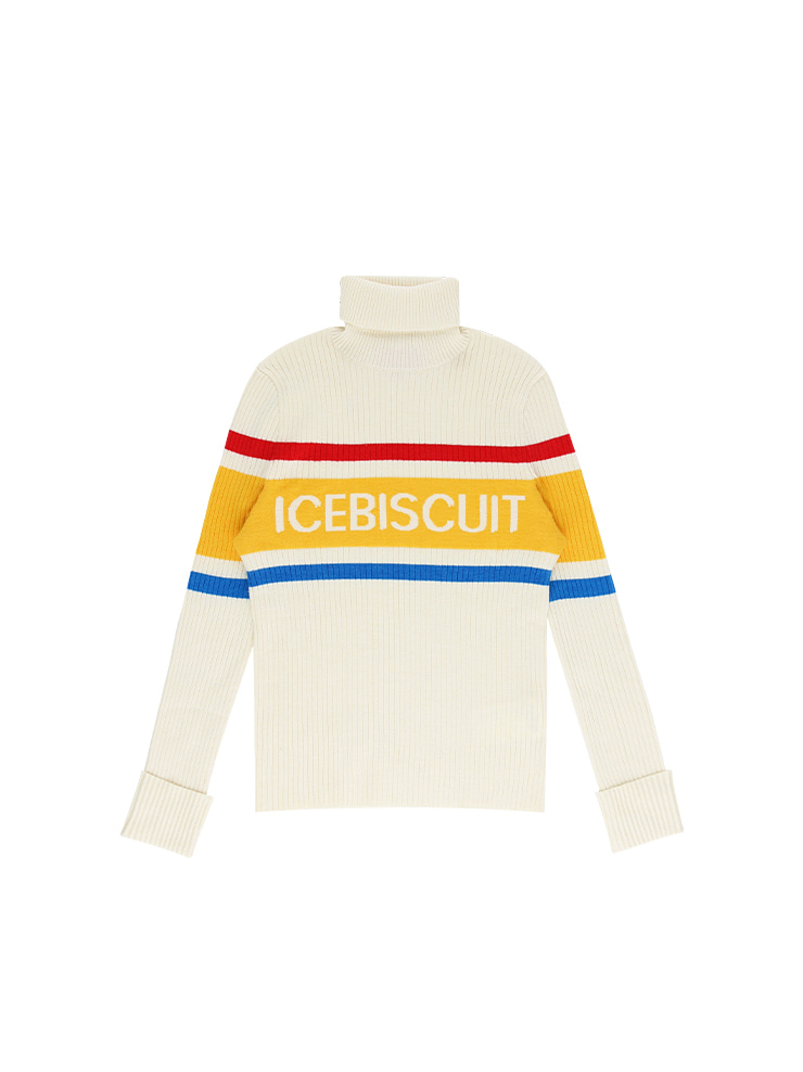 아이스비스킷 - Icebiscuit stripe point turtle neck sweater 20% sale