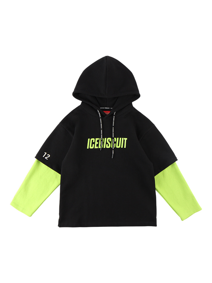아이스비스킷 - Icebiscuit print double-layer hooded sweatshirt