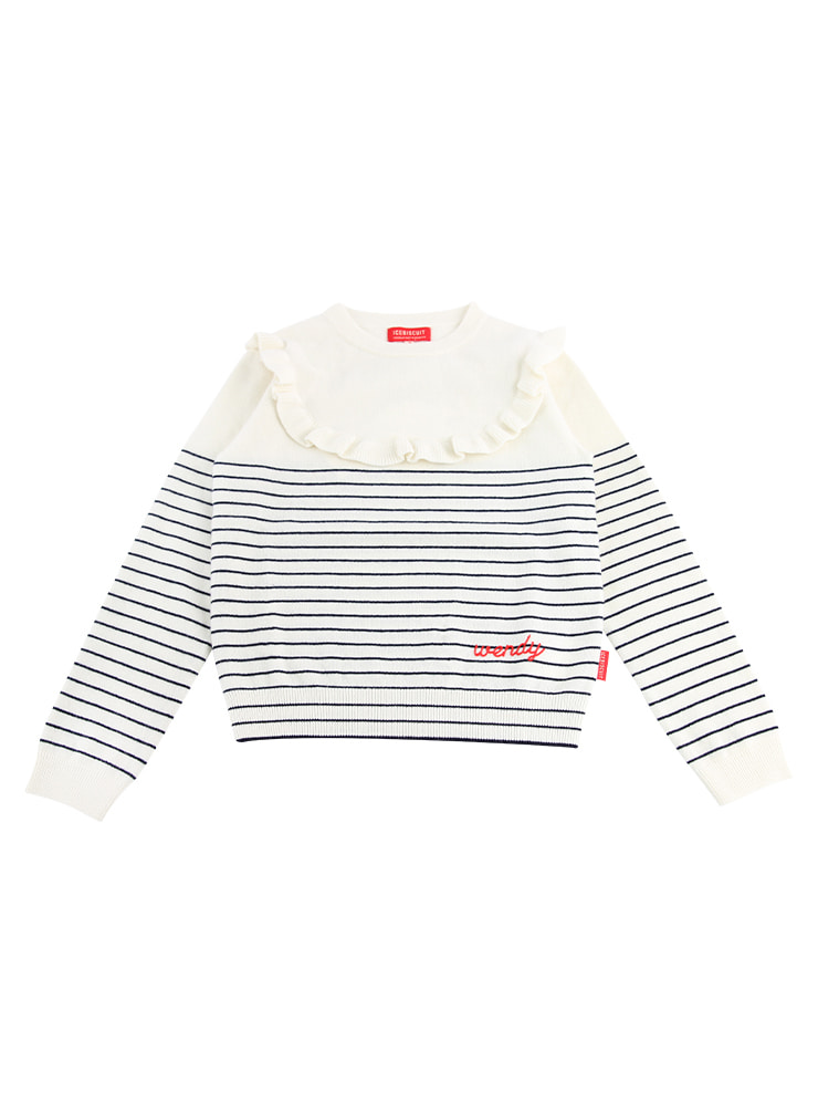 아이스비스킷 - Wendy frill point stripe sweater 20% sale