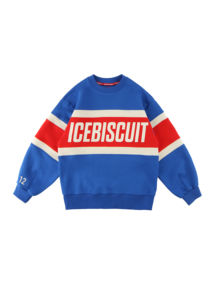 아이스비스킷 - Icebiscuit letter point color block sweatshirt