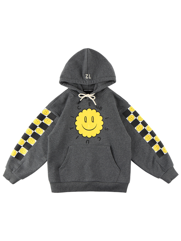 아이스비스킷 - Smile checkerboard-print cotton hooded sweatshirt 20% sale