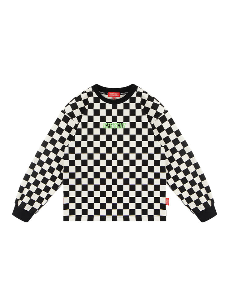 아이스비스킷 - Icebiscuit checkerboard long sleeve tee 20% sale