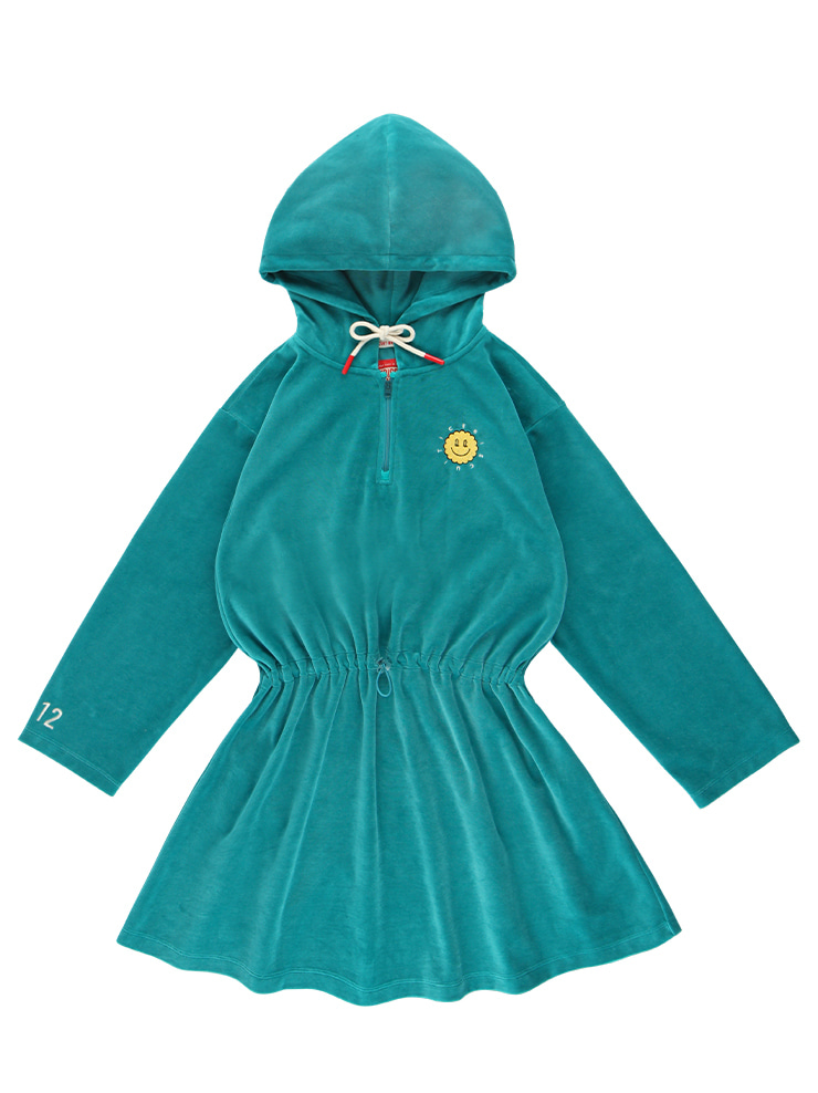 아이스비스킷 - Quiz smile velour half zip hoodie dress
