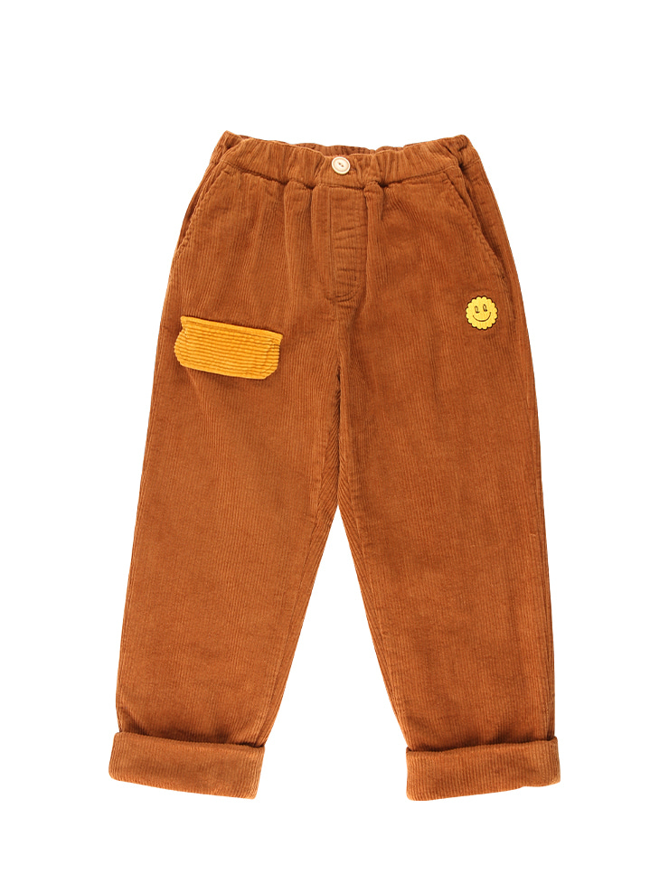 아이스비스킷 - Quiz smile color block corduroy pants