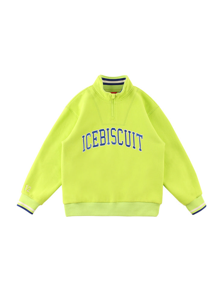 아이스비스킷 - Icebiscuit letter half open back brushed sweatshirt (기모O)