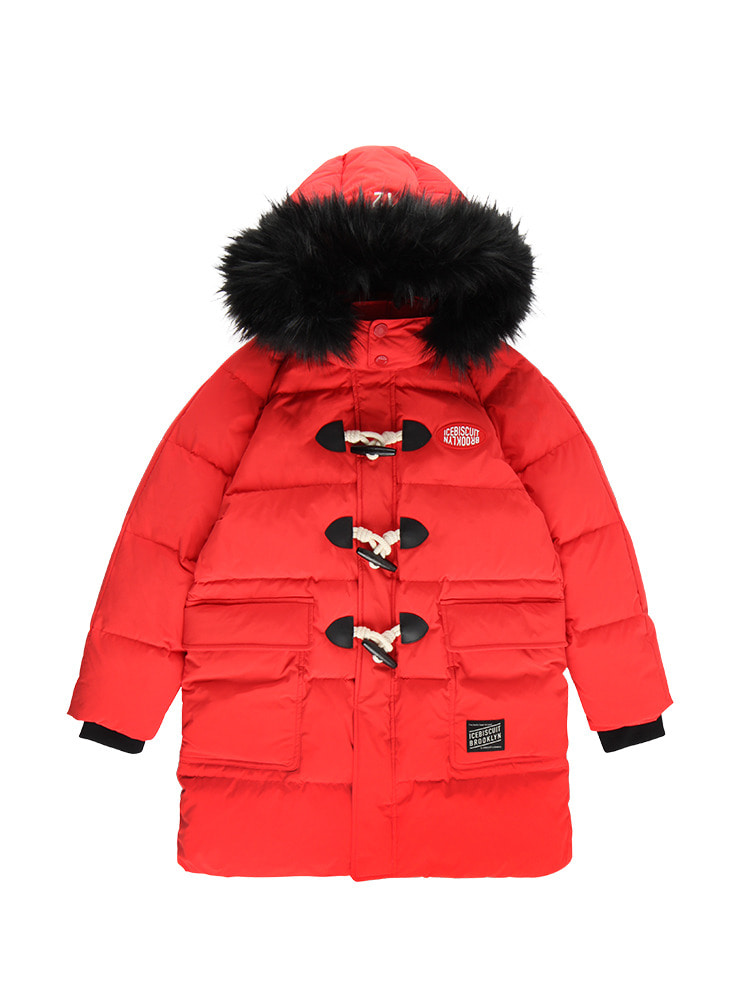 아이스비스킷 - Logo patch quilted down duffle coat