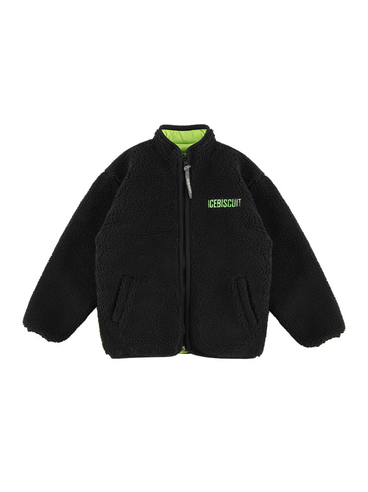 아이스비스킷 - Icebiscuit-embroidered reversible fleece zip