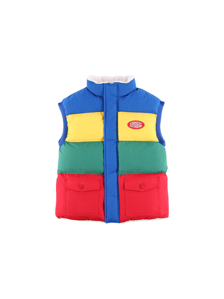 아이스비스킷 - Icebiscuit color block reversible fleece wellon vest