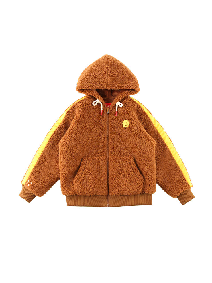 아이스비스킷 - Quiz smile sherpa fleece hooded zip-up