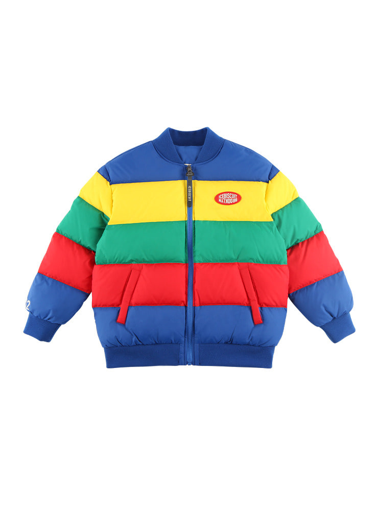 아이스비스킷 - Icebiscuit color block reversible short down jacket