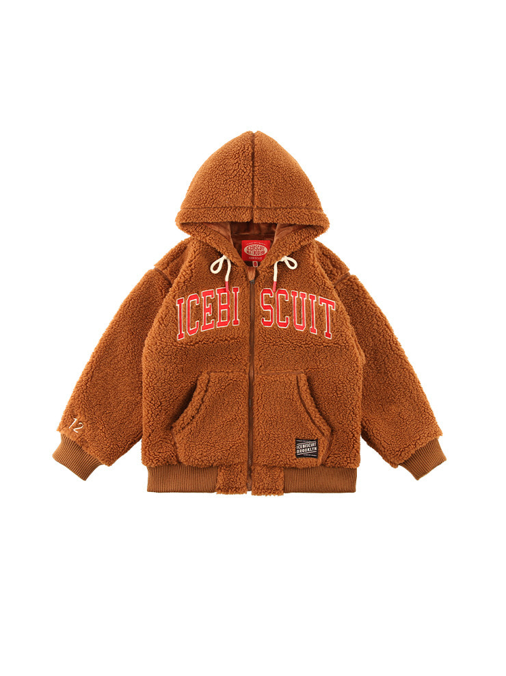 아이스비스킷 - Icebiscuit-embroidered sherpa fleece hooded zip-up