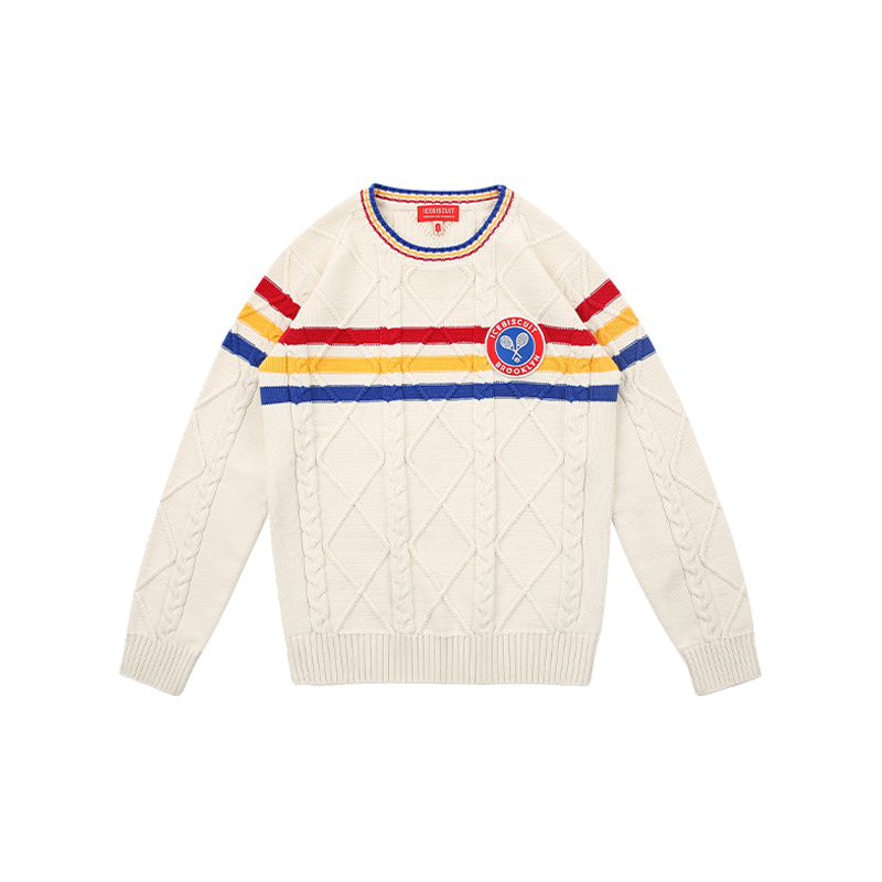 아이스비스킷 - Icebiscuit tennis emblem cable fullover sweater