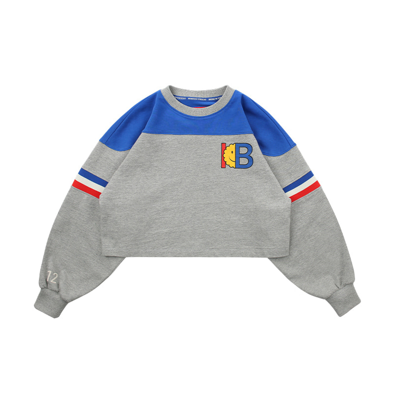 아이스비스킷 - IB-print color block cropped sweatshirts 20% sale