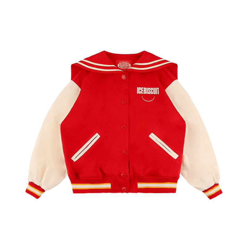 아이스비스킷 - Sailor collar satin varsity jacket 10% sale