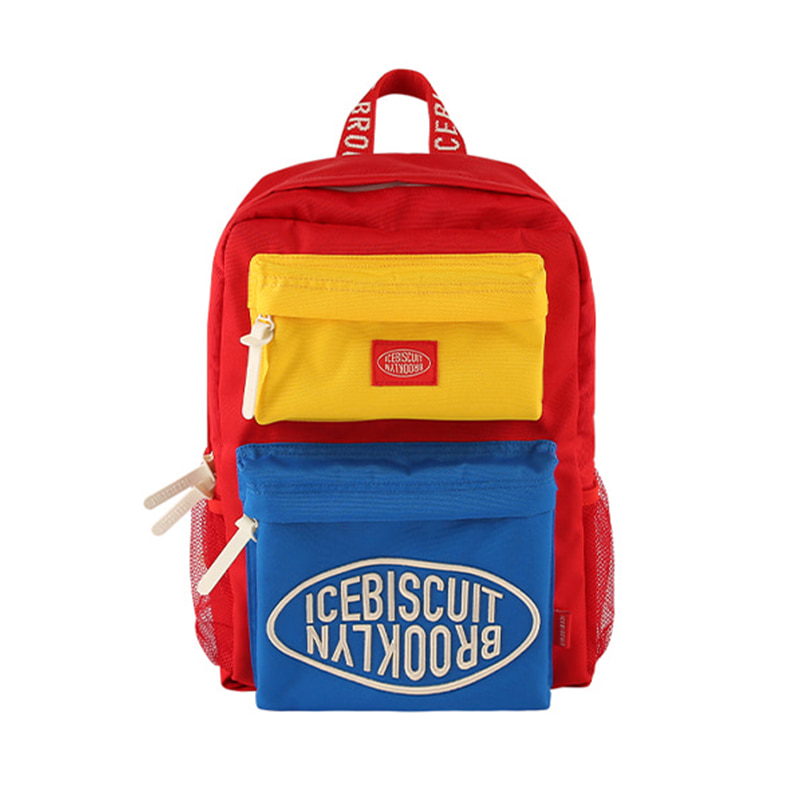 아이스비스킷 - Icebiscuit color block double pocket backpack
