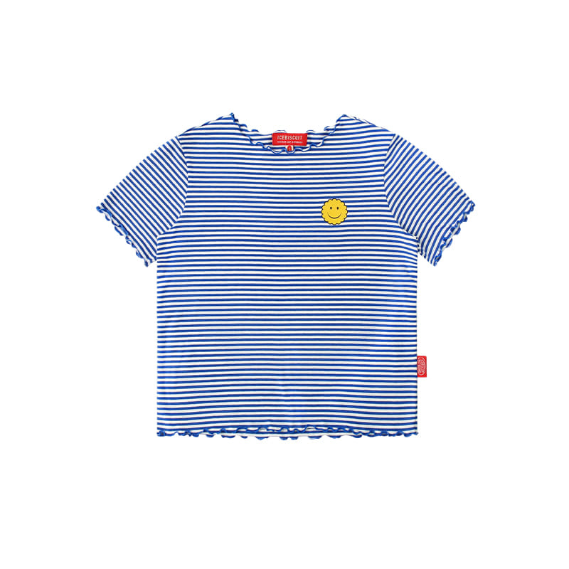 아이스비스킷 - Smile lettuce edge stripe t-shirt 30% sale