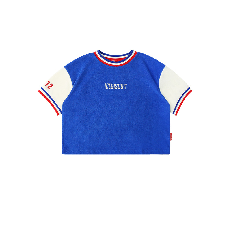 아이스비스킷 - Icebiscuit terry color block cropped t-shirt 20% sale