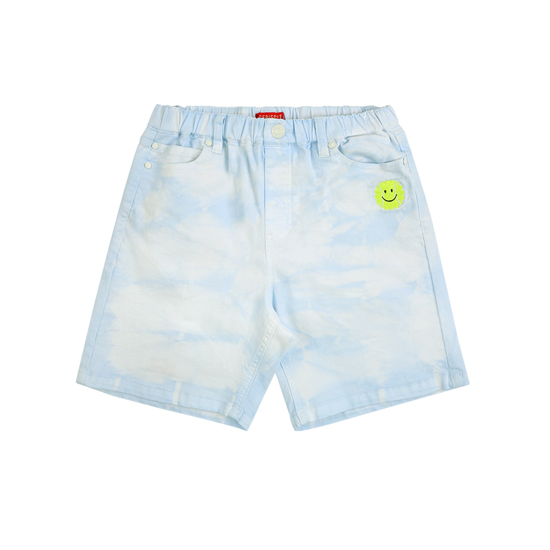 아이스비스킷 - Tennis smile tie-dye light denim shorts 30% sale